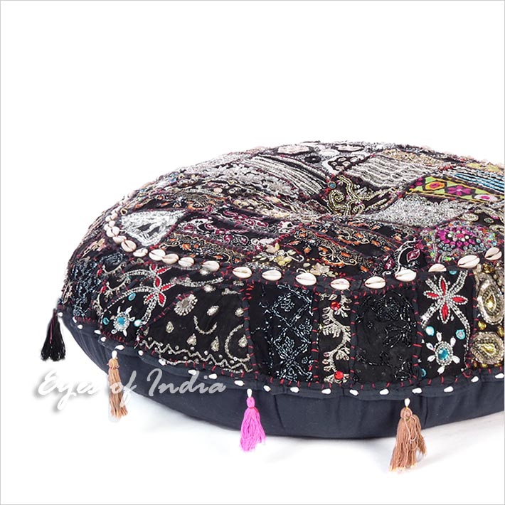 Black Handmade Patchwork Round Colorful Decorative Meditation Cushion Seating Throw Floor Pillow Cover