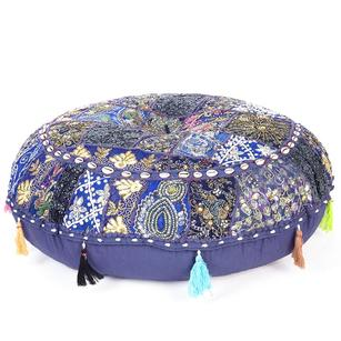 Blue Handmade Patchwork Round Colorful Meditation Cushion Seating Throw Bohemian Accent Boho Floor Pillow Cover