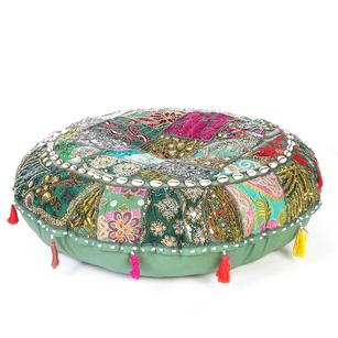 Green Round Colorful Decorative Seating Meditation Bohemian Accent Floor Pillow Patchwork Cushion Cover