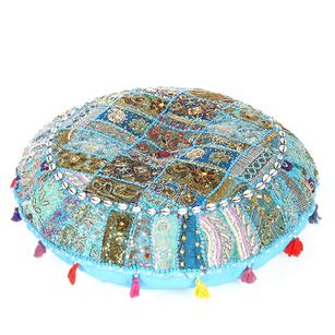 Blue Round Meditation Handmade Patchwork Cushion Seating Boho Bohemian Colorful Decorative Floor Pillow Cover