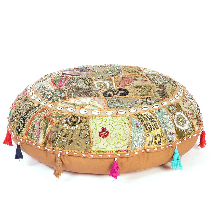 Brown Handmade Patchwork Round Colorful Meditation Seating Bohemian Accent Decorative Floor Pillow Cover