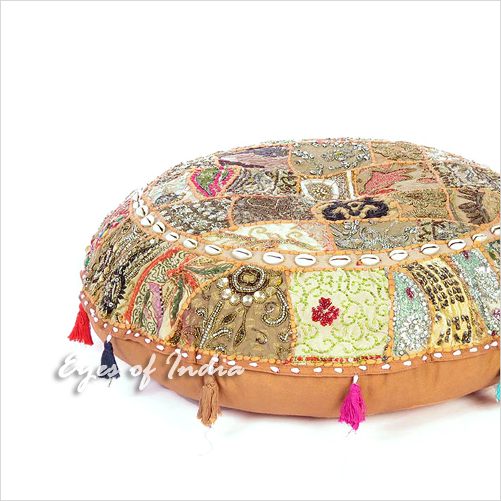 Brown Patchwork Round Colorful Decorative Floor Pillow Cover Meditation Cushion