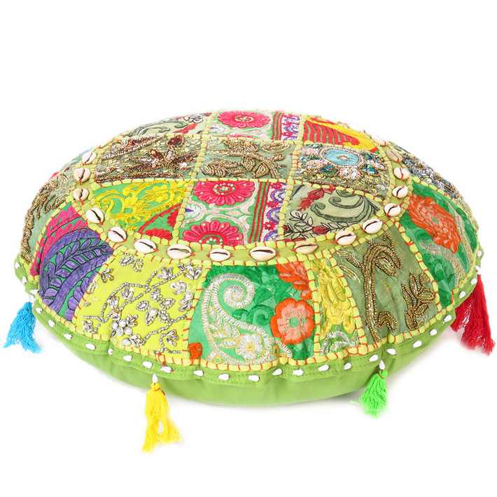 Green Round Handmade Patchwork Colorful Decorative Cushion Seating Throw Bohemian Accent Boho Floor Pillow Cover