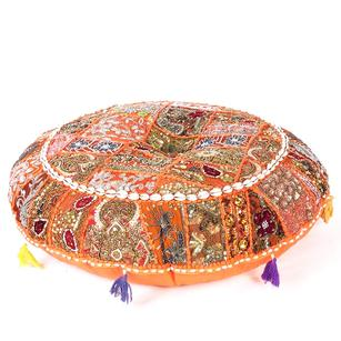 Orange Handmade Patchwork Round Colorful Decorative Meditation Cushion Throw Bohemian Accent Floor Pillow Cover