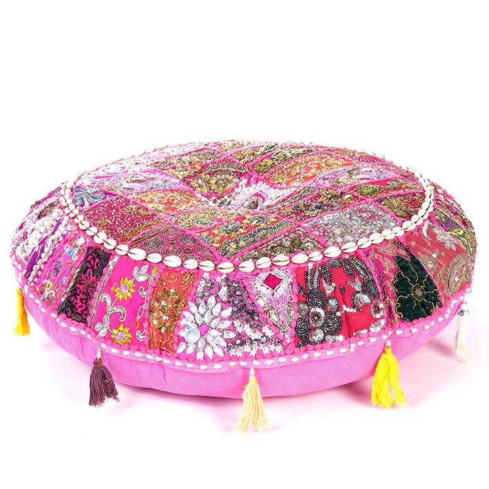 Pink Handmade Patchwork Round Colorful Meditation Cushion Seating Bohemian Boho Decorative Floor Pillow Cover