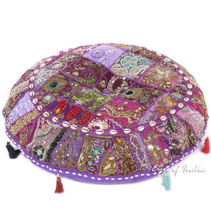 Purple Patchwork Round Colorful Decorative Floor Pillow Cover Meditation Cushion