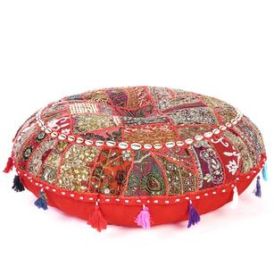 Red Handmade Patchwork Round Meditation Cushion Seating Bohemian Accent Boho Chic Decorative Floor Pillow Cover