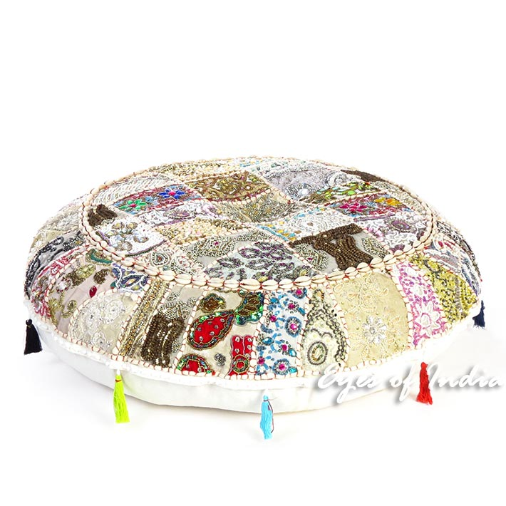 White Round Colorful Decorative Meditation Bohemian Accent Floor Pillow Seating Handmade Patchwork Cushion Cover