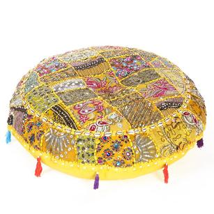 Yellow Handmade Patchwork Round Colorful Decorative Cushion Seating Throw Bohemian Boho Chic Floor Pillow Cover