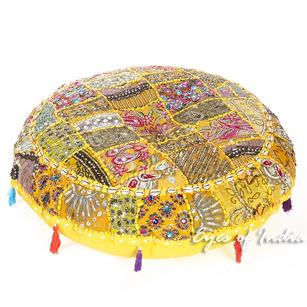 Yellow Patchwork Round Colorful Decorative Floor Pillow Cover Meditation Cushion