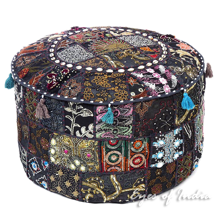Black Handmade Patchwork Round Pouf Pouffe Floor Seating Boho Chic Bohemian Accent Ottoman Cover