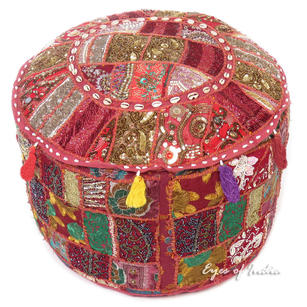 Burgundy Round Decorative Embroidered Pouf Handmade Patchwork Pouffe Ottoman Cover Bohemian Accent Handmade