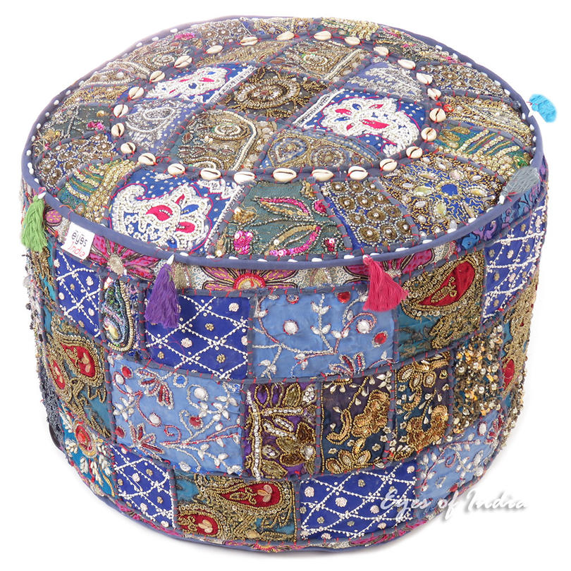 Blue Embroidered Pouf Handmade Patchwork Pouffe Ottoman Cover Boho Chic Decorative Handmade
