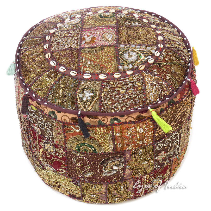 Brown Embroidered Pouf Handmade Patchwork Pouffe Ottoman Cover Bohemian Accent Decorative Handmade