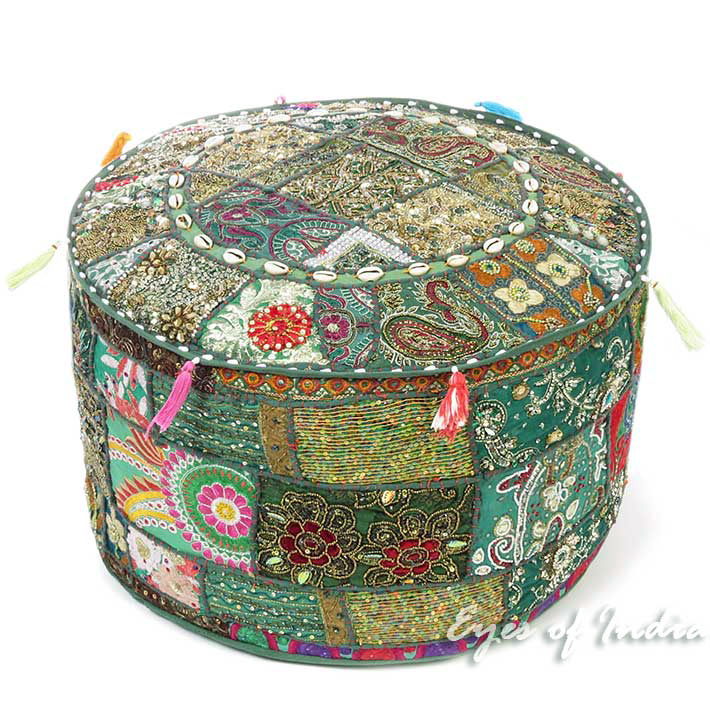 Green Handmade Patchwork Round Pouf Floor Seating Boho Chic Bohemian Accent Pouffe Ottoman Cover