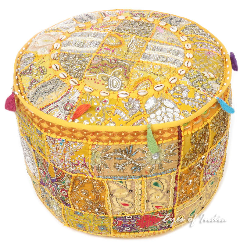 Yellow Round Embroidered Pouf Handmade Boho Chic Decorative Patchwork Pouffe Ottoman Cover
