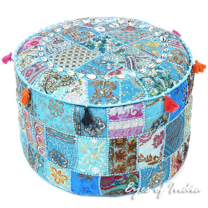 Blue Handmade Patchwork Round Floor Seating Bohemian Accent Boho Ottoman Pouffe Cover
