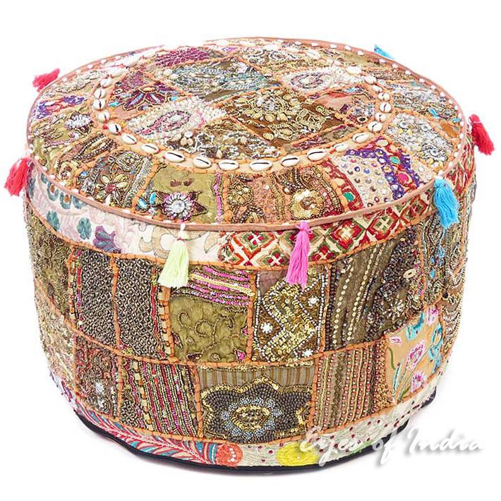 Brown Round Decorative Pouf Patchwork Bohemian Accent Boho Handmade Pouffe Ottoman Cover