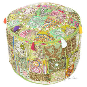 Green Decorative Embroidered Pouf Bohemian Accent Handmade Patchwork Pouffe Ottoman Cover