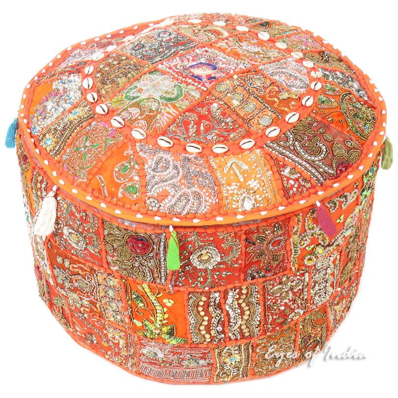 Orange Round Embroidered Pouf Boho Chic Decorative Handmade Patchwork Pouffe Ottoman Cover