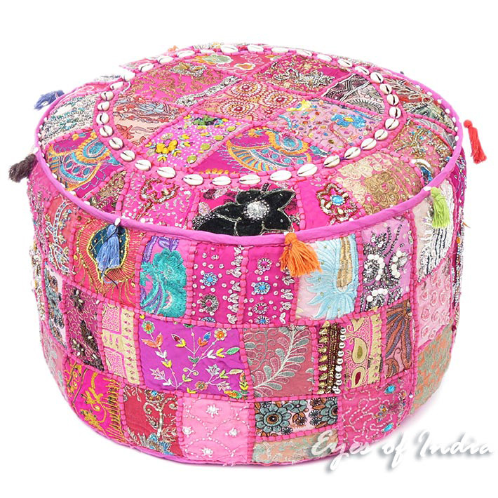 Pink Patchwork Round Floor Seating Bohemian Accent Boho Chic Handmade Ottoman Pouffe Cover