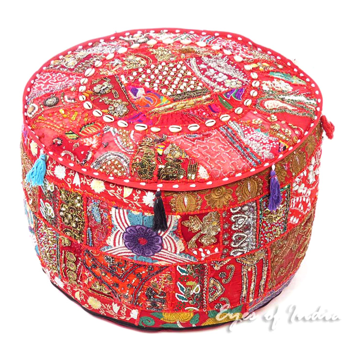 Red Round Decorative Pouf Bohemian Accent Boho Chic Handmade Patchwork Pouffe Ottoman Cover