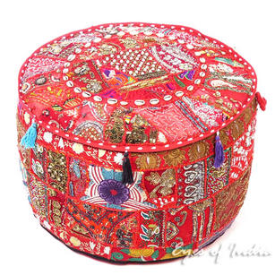 Round Red Decorative Pouf Patchwork Pouffe Ottoman Cover Bohemian Accent Indian