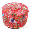 Red Round Decorative Pouf Bohemian Accent Boho Chic Handmade Patchwork Pouffe Ottoman Cover 1
