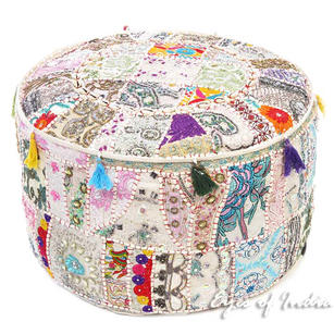 White Decorative Round Pouf Seating Boho Chic Bohemian Accent Patchwork Pouffe Ottoman Cover