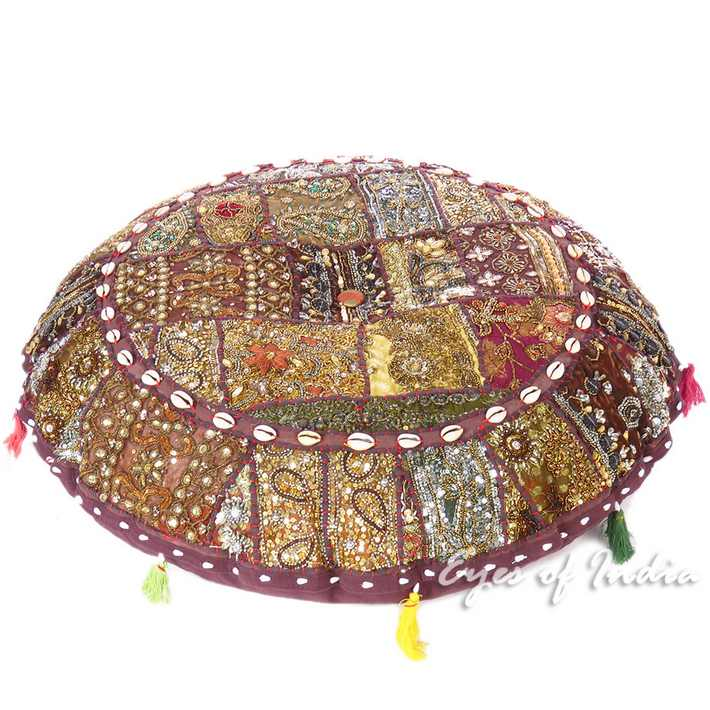 Brown Handmade Patchwork Decorative Round Meditation Cushion Seating Bohemian Accent Floor Pillow Cover