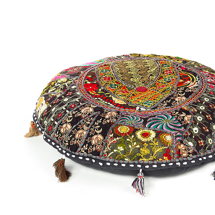 Black Handmade Patchwork Round Colorful Decorative Meditation Cushion Seating Bohemian Accent Floor Pillow Cover