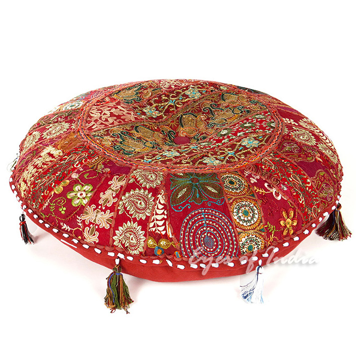 Burgundy Handmade Patchwork Round Colorful Cushion Seating Throw Bohemian Accent Boho Decorative Floor Pillow Cover