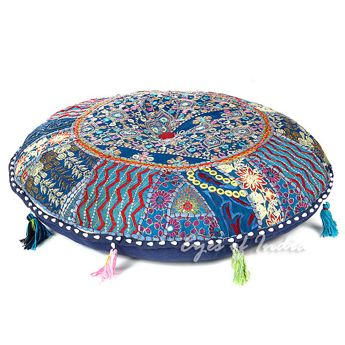 Blue Round Colorful Decorative Meditation Handmade Patchwork Cushion Bohemian Accent Floor Pillow Cover