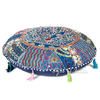 Blue Round Colorful Decorative Meditation Handmade Patchwork Cushion Bohemian Accent Floor Pillow Cover 1