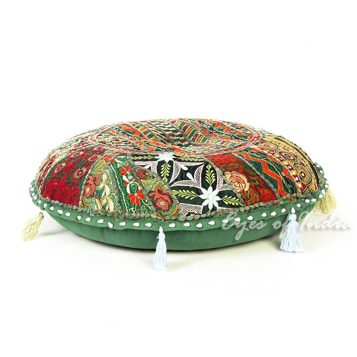 Green Handmade Patchwork Round Colorful Decorative Meditation Cushion Seating Bohemian Floor Pillow Cover