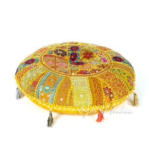 Yellow Round Colorful Meditation Handmade Patchwork Cushion Seating Bohemian Accent Decorative Floor Pillow Cover