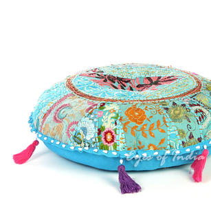 Blue Round Colorful Decorative Meditation Seating Bohemian Accent Floor Pillow Handmade Patchwork Cushion Cover