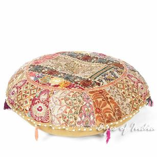 Brown Round Colorful Meditation Seating Bohemian Boho Decorative Floor Pillow Handmade Patchwork Cushion Cover