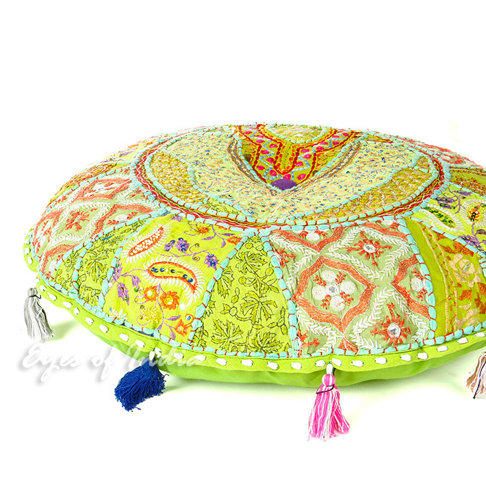 Light Green Handmade Patchwork Round Colorful Decorative Meditation Cushion Seating Throw Accent Boho Floor Pillow Cover
