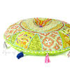 Light Green Handmade Patchwork Round Colorful Decorative Meditation Cushion Seating Throw Accent Boho Floor Pillow Cover 1