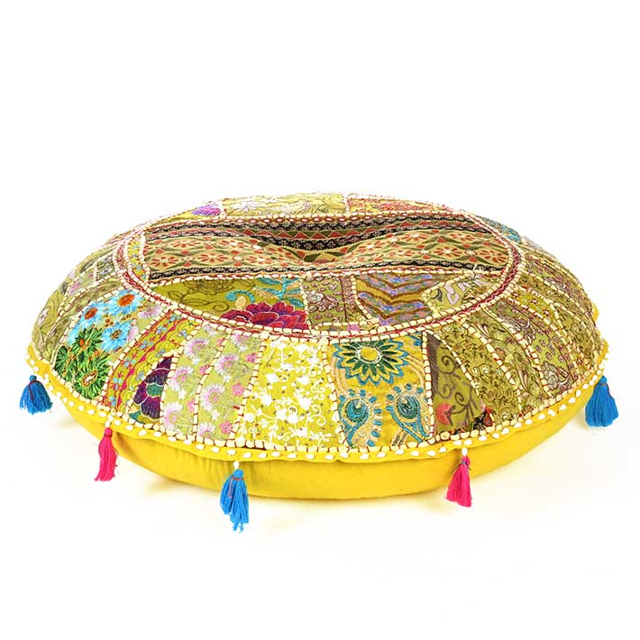 Light Yellow Round Colorful Decorative Meditation Handmade Patchwork Cushion Seating Throw Accent Boho Floor Pillow Cover