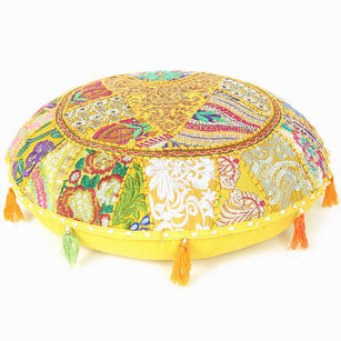 Light Yellow Round Colorful Decorative Meditation Handmade Patchwork Cushion Floor Pillow Cover