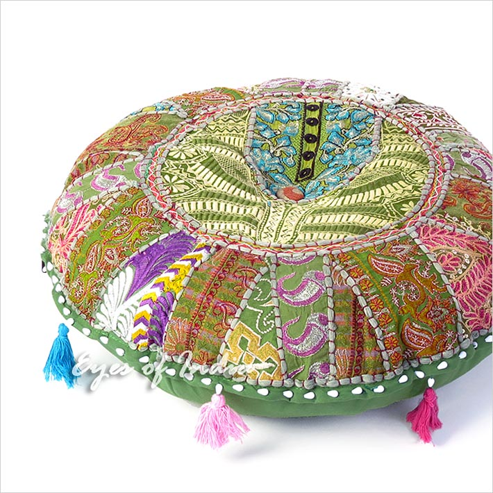 Olive Round Decorative Floor Pillow Meditation Seating Bohemian Accent Boho Chic Handmade Patchwork Cushion Cover