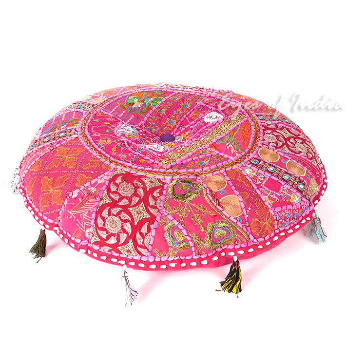 Pink Round Colorful Decorative Handmade Patchwork Cushion Seating Throw Bohemian Accent Floor Pillow Cover