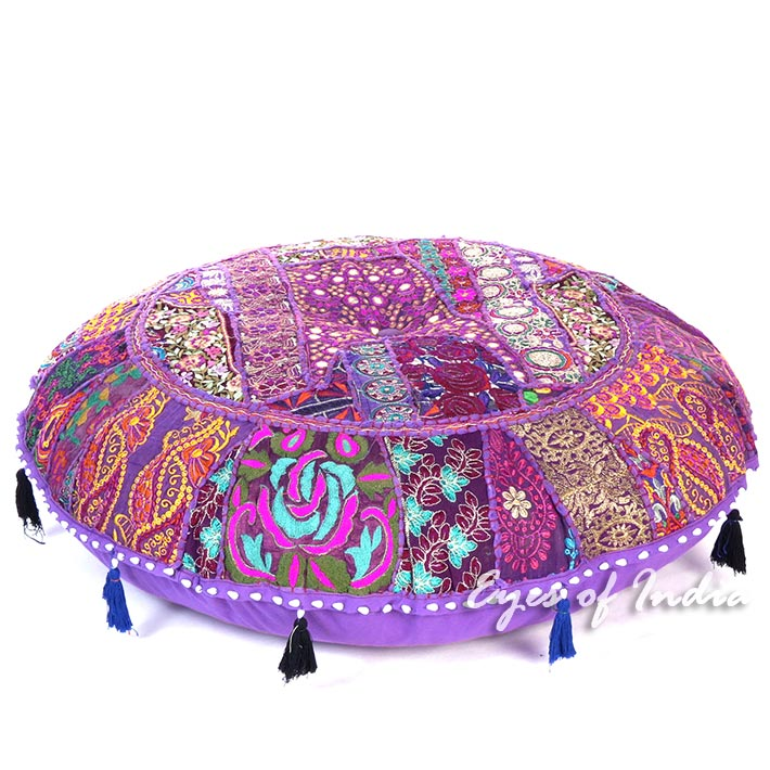 Purple Round Colorful Floor Pillow Meditation Seating Throw Bohemian Accent Handmade Patchwork Cushion Cover