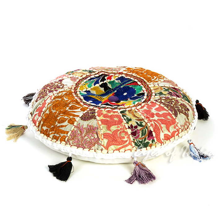 White Round Colorful Meditation Handmade Patchwork Cushion Seating Throw Accent Boho Chic Floor Pillow Cover