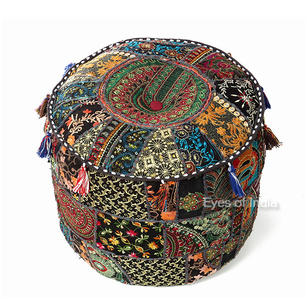 Black Small Patchwork Round Ottoman Floor Seating Boho Chic Bohemian Accent Pouf Pouffe Cover