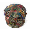 Black Small Patchwork Round Ottoman Floor Seating Boho Chic Bohemian Accent Pouf Pouffe Cover 1