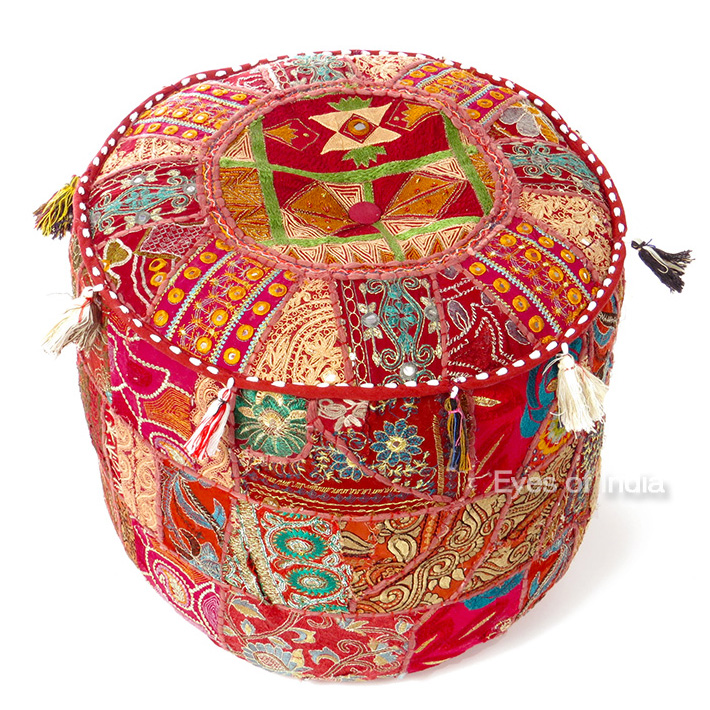 Burgundy Small Patchwork Floor Seating Bohemian Accent Boho Handmade Round Ottoman Pouf Pouffe Cover