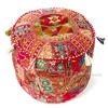 Burgundy Small Patchwork Floor Seating Bohemian Accent Boho Handmade Round Ottoman Pouf Pouffe Cover 1